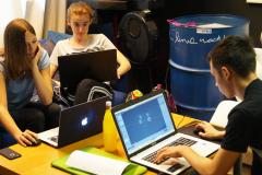 Ein gemischtes Blender und Unityteam bei unserem Open Project Hackathon im Mai 2018 in Pfaffenhofen an der Ilm.